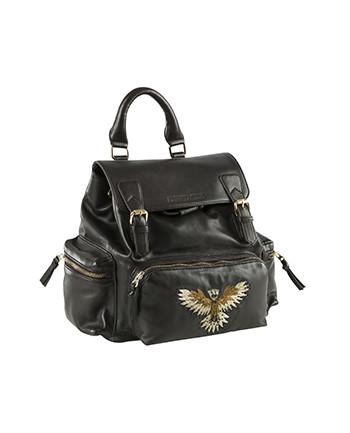 Leather backpack Aeronautica Militare